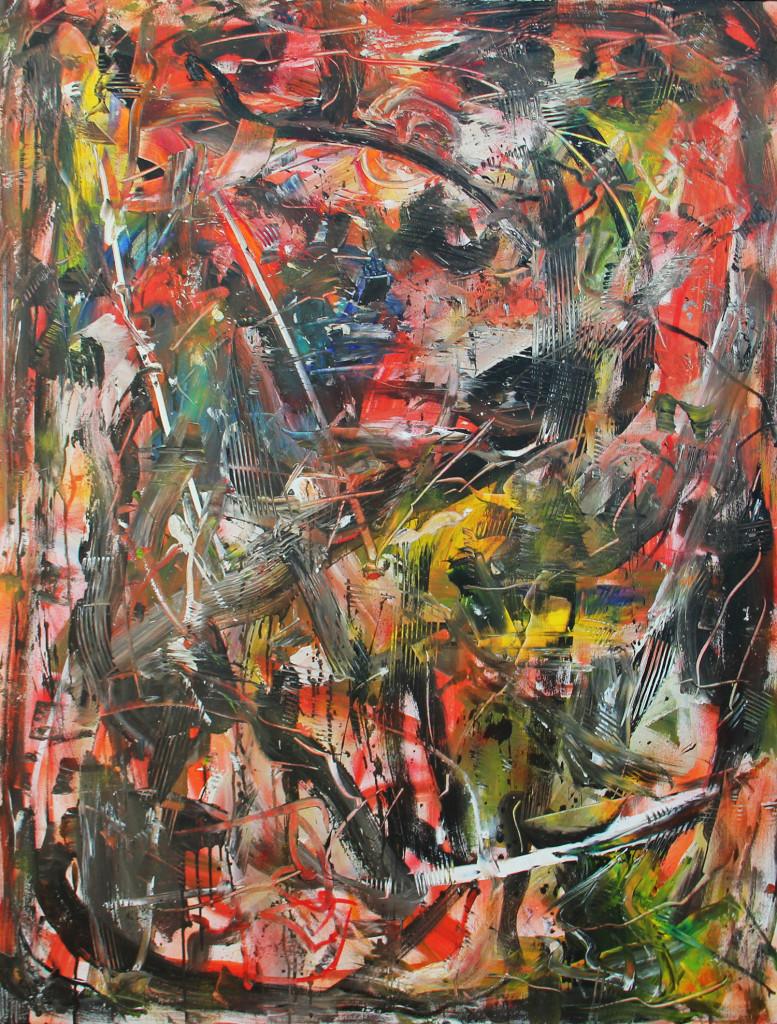 Emilio Vedova olio su tela cm 130 x 100 anno 1982