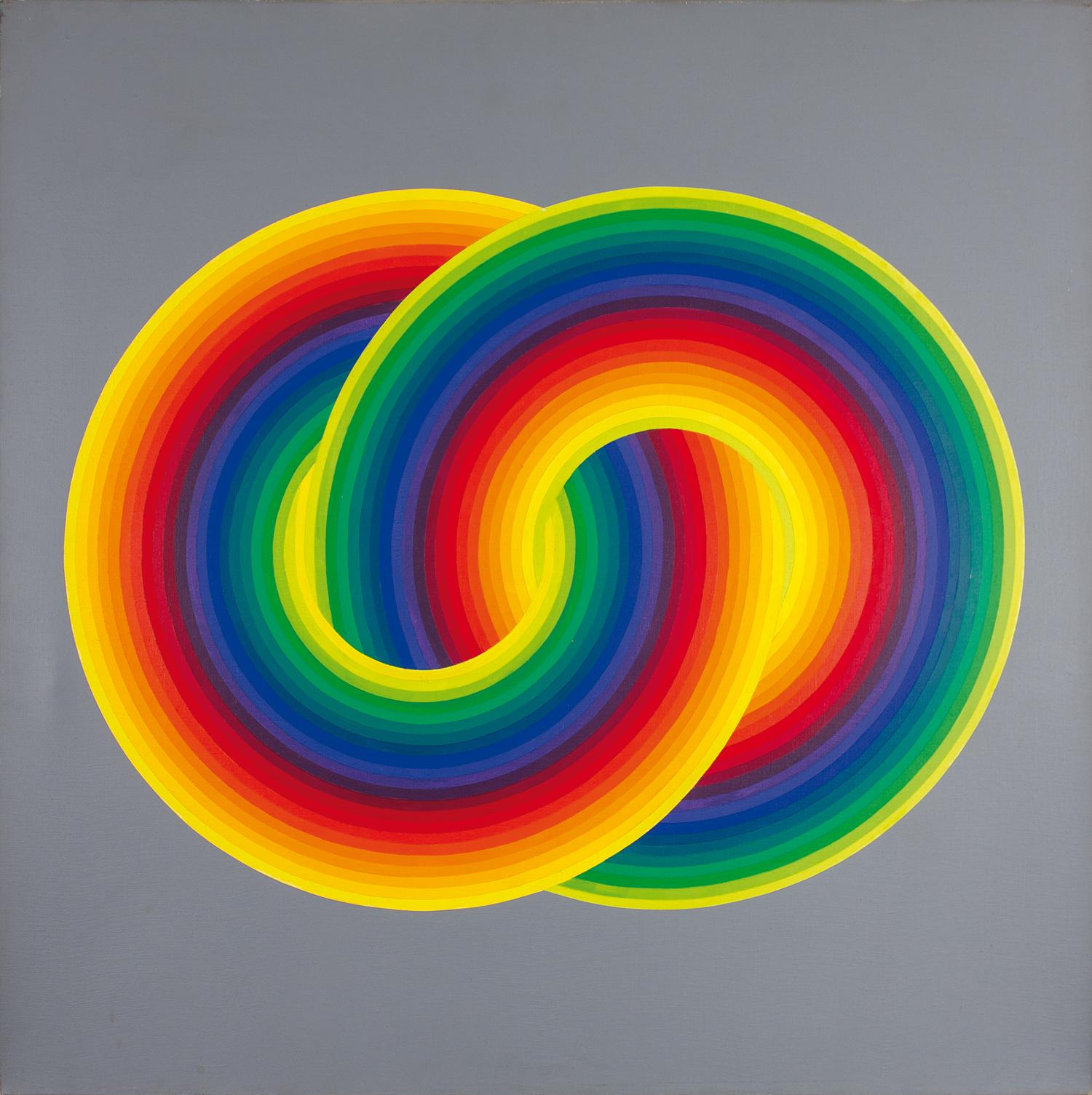 33_Joel Stein 1974 olio su tela 100x100 Due cerchi cromatici