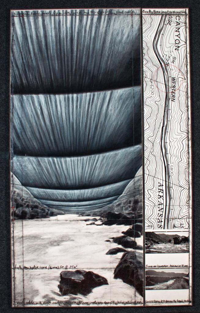 Christo 244x106,6 - 244x38 1994 OVER THE RIVER tecnica mista su carta