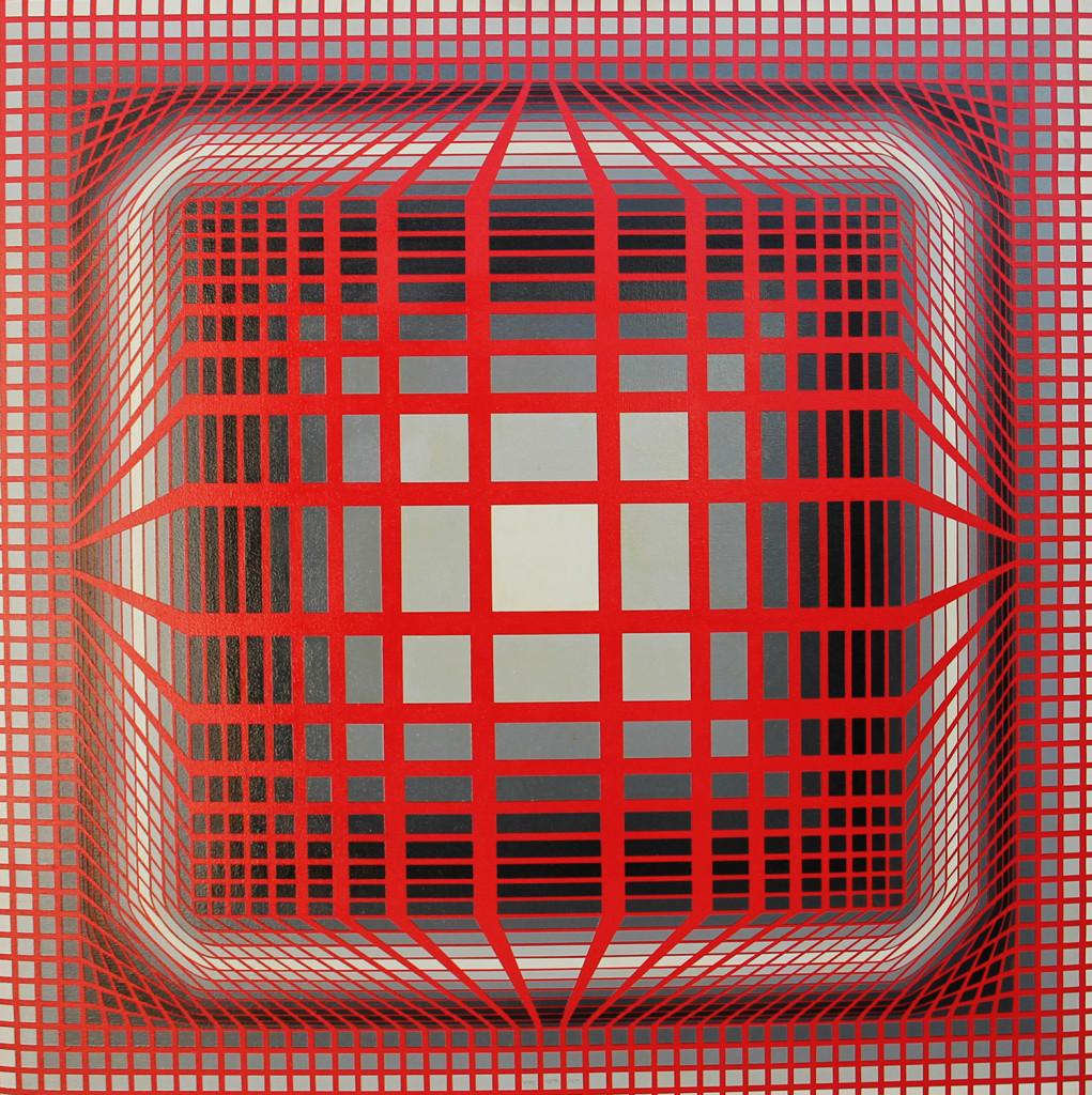 Victor Vasarely olio su tela  cm 100 x 100 anno 1983